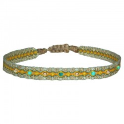 Bracelet MIX Cordon & Perles - Jaune Vert Turquoise & Doré LEJU LONDON