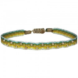 Bracelet Cordon Wave LeJu London - Vert jaune kaki & Perles boules dorées