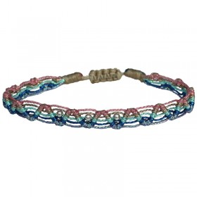 Bracelet cordon KIDS WEB zig zag LeJu London - Liens turquoises roses bleus & Perles dorées