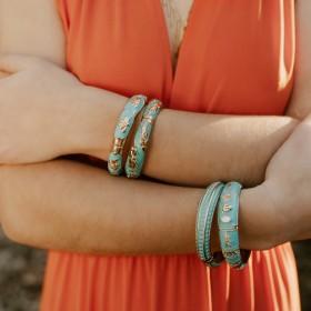Composition turquoise des bracelets signés ARGELOUSE