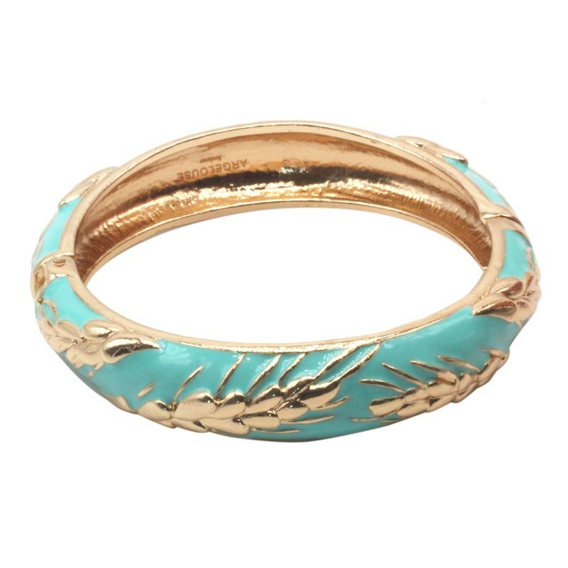 Bracelet Jonc Amok Doré émaillé Turquoise & Epis de blé dorés - ARGELOUSE