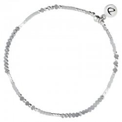 Bracelet fin élastiqué Fluffy argent DORIANE BIJOUX - Miyuki & Perles grises