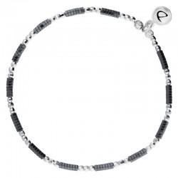 Bracelet fin élastiqué - Perles Argent & Hématites noires DORIANE BIJOUX