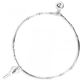 Bracelet fin élastique Argent - Perles tubes & Petite clé strass - DORIANE Bijoux
