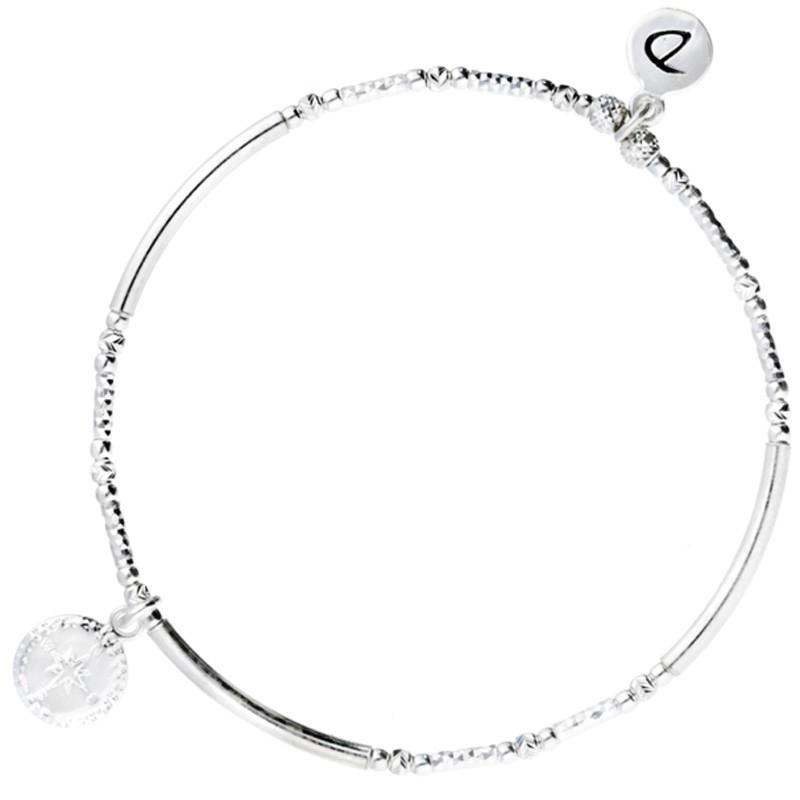 Bracelet fin élastique Argent - Perles tubes & Médaille rose des vents - DORIANE Bijoux