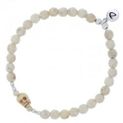 Bracelet élastique homme argent - River Stone beige & Tête de mort DORIANE BIJOUX