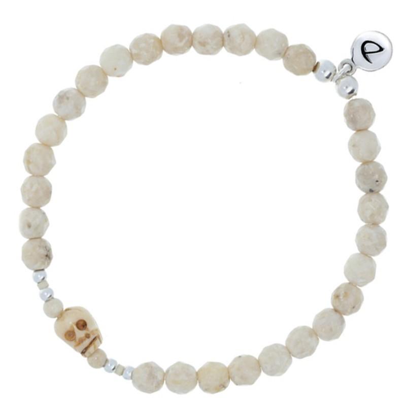 Bracelet élastique homme argent HEAD - River Stone beige & Tête de mort -  DORIANE BIJOUX
