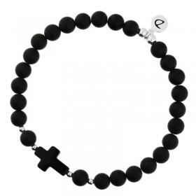 Bracelet homme élastiqué Bad Boy argent 4 mm - Onyx & Croix noire DORIANE BIJOUX