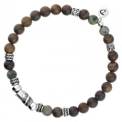 Bracelet homme élastiqué argent - Perles bois kaki & Décors ethniques signé DORIANE Bijoux