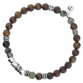 - Bracelet homme élastiqué argent GIPSY - Perles bois kaki & Décors ethniques - DORIANE Bijoux
