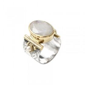 Bague large ethnique argent pierre de lune ovale & perles blanches - CANYON BIJOUX