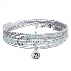 Bracelet multi-tours EGERIE argent - Cordons gris clair & Perles vertes DORIANE BIJOUX