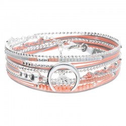 Bracelet multi-tours MOONLIGHT argent - Cordons blanc corail & Croissant - DORIANE Bijoux