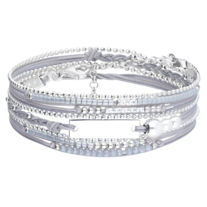 Bracelet multi-tours IDEAL argent - Cordons gris & Plaque identité argent- DORIANE Bijoux