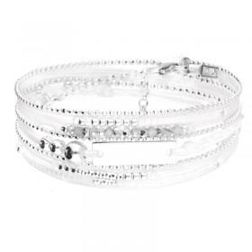 Bracelet multi-tours PLAQUE argent - Cordons blancs & Perles grises DORIANE BIJOUX