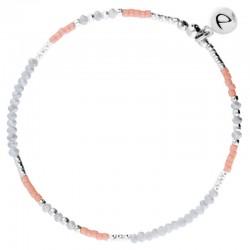 Bracelet fin élastiqué Fluffy argent - Miyuki corail & Perles grises - DORIANE Bijoux