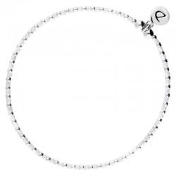 Bracelet élastique GRAIN DE FOLIE - Perles argent & Miyuki blanche - DOIRIANE Bijoux