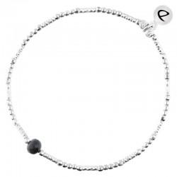 Bracelet élastique LOLLILOP Argent - Perles tubes & Perle noire - DORIANE Bijoux