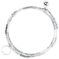 Bracelet multi-tours élastiqué Argent - Miyuki grises blanches & Anneau diamanté - DORIANE Bijoux