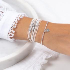 Bracelet multi-tours PLAQUE argent - Cordons blancs & Perles grises signé Doriane