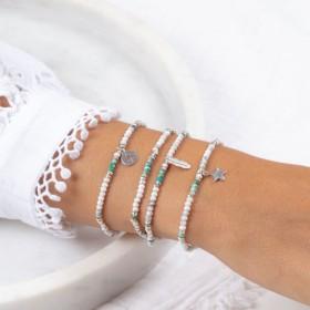 Bracelets Doriane bijoux blanc et turquoise