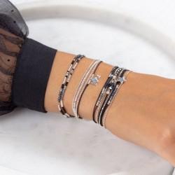 Bracelet élastique LOLLILOP Argent - Perles tubes & Perle noire TAILLE M