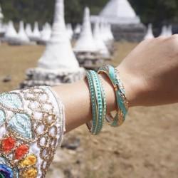 Bracelet Jonc Amok Doré émaillé Turquoise & Epis de blé dorés