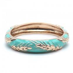 Bracelet Jonc Amok Doré émaillé Turquoise & Epis de blé dorés ARGELOUSE