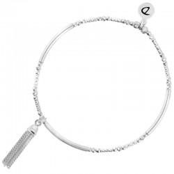 Bracelet fin élastique Argent - Tubes lisses diamantés & Long pompon - DORIANE Bijoux