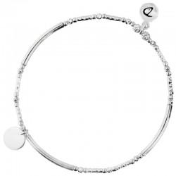 Bracelet fin élastique Argent - Tubes lisses diamantés & Pastille plate - DORIANE Bijoux