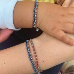 Bracelet cordon KIDS WEB zig zag - Liens turquoises roses bleus & Perles argent