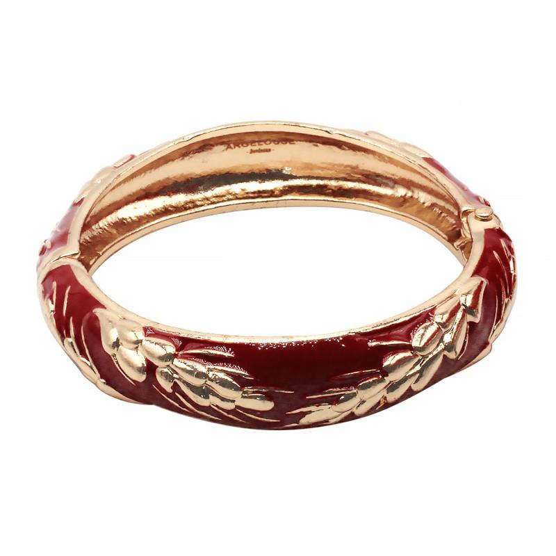 Bracelet Jonc Amok Doré émaillé Rouge & Epis de blé dorés ARGELOUSE