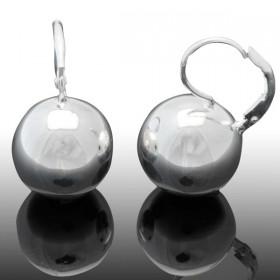 Boucles d'oreilles sur dormeuses Doriane - boule argent 925 diamètre 18 mm