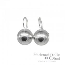 Boucles d'oreilles sur dormeuses Doriane - boule argent 925 diamètre 14 mm
