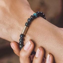 Bracelet élastiqué Perles AMOUR - Agates mates noires & Tube doré