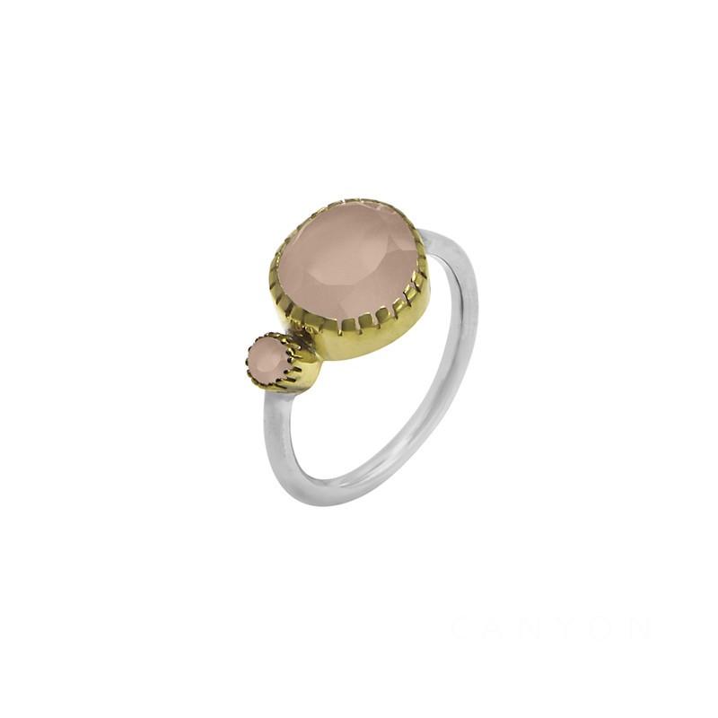 Bague ethnique argent doré & Cabochons céramique rose - CANYON