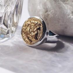 Bague chevalière MEDAILLE ANTIQUE argent doré - Profil Empereur romain TAILLE 54