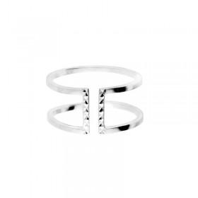 Bague large double anneaux lisses & barrette en argent ciselé - Héléna - Doriane Bijoux