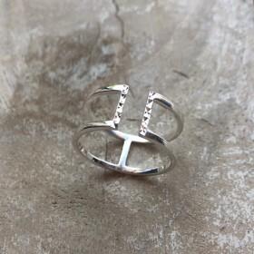 Bague large double anneaux lisses et barrette en argent ciselé - Héléna DORIANE BIJOUX
