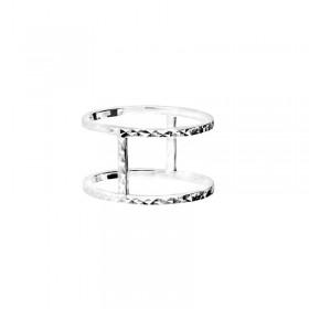 Bague large DORIANE BIJOUX double anneaux ciselé et barrette en argent - Florence