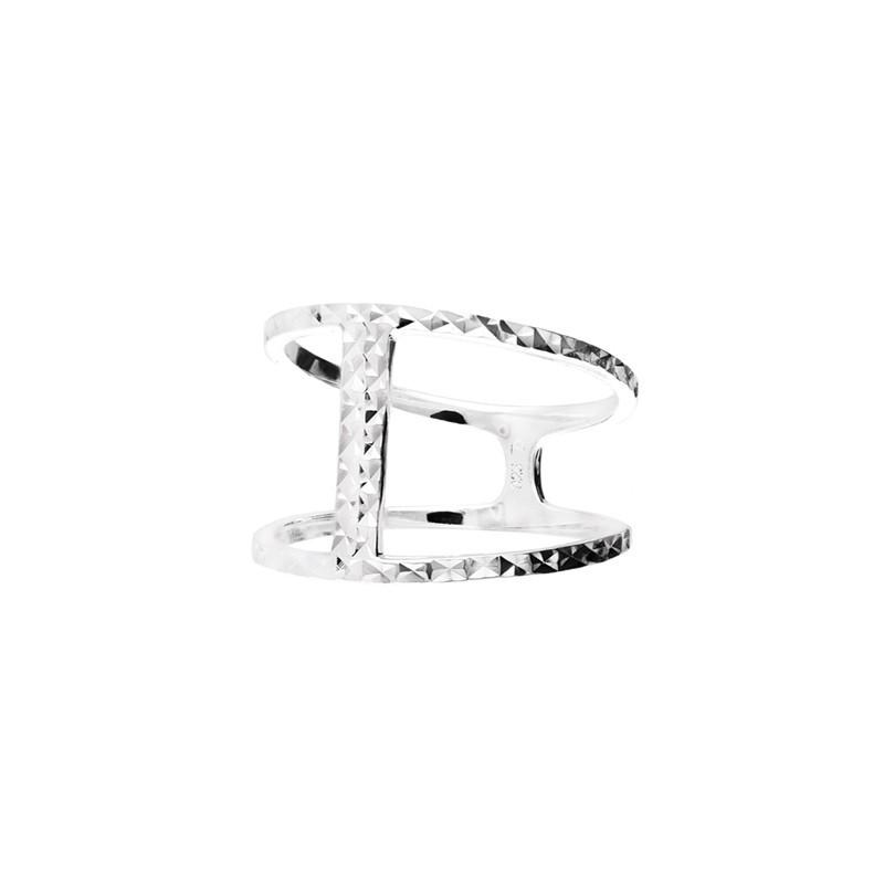 Bague large double anneaux & barrette effet diamanté - Victoria