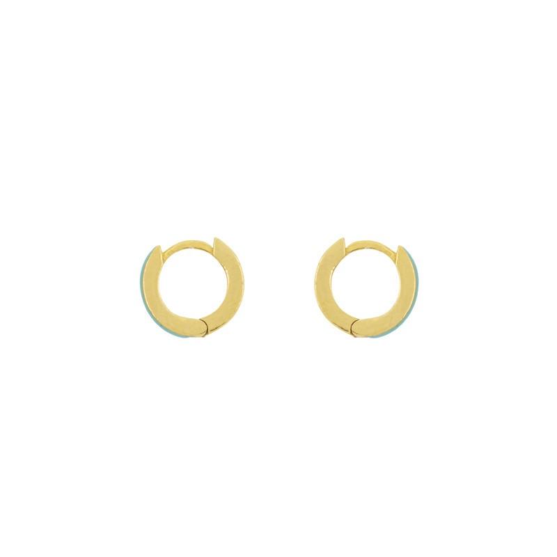 Boucles d'oreilles UNE A UNE - mini créoles dorées - Email Turquoise