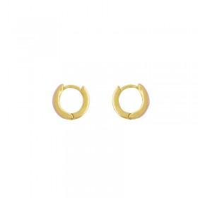 Boucles d'oreilles mini créoles PASSION dorées - Email Rose fluo Une à Une