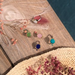 Bague ethnique argent doré & Cabochons céramique rose TAILLE 60