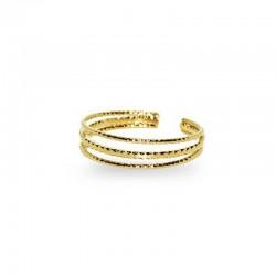 Bague ajustable dorée multi rangs Norma - Anneaux fins en diadème - Nilaï