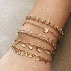 Bracelet ajustable CAMILLE argenté - Chaîne fine & Médailles navettes
