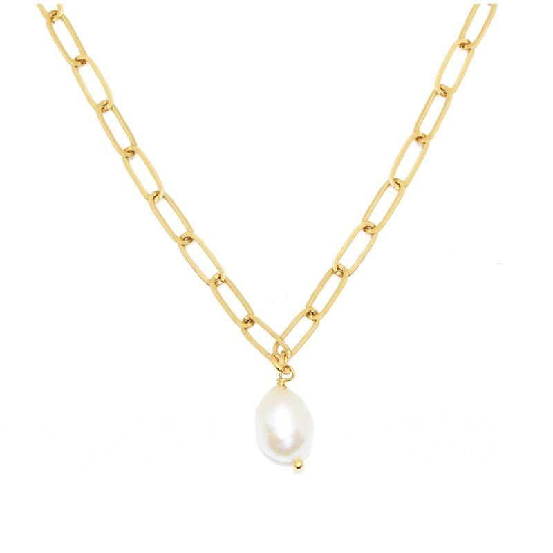 Collier court PERLA doré - Chaîne anneaux allongés & Perle douce blanche signé Nilaï Paris