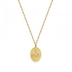 Collier GLORIA doré - Chaîne fine & Médaille Croix zircons blancs signé Nilaï Paris