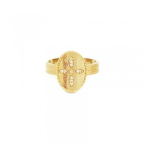 Bague large ajustable dorée GLORIA - Anneau & Médaillon Croix zircon blanc signée Nilaï Paris