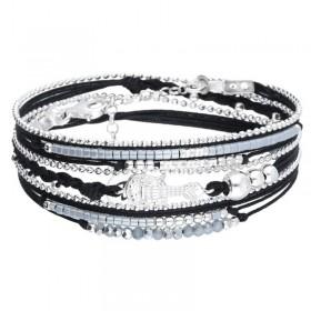Bracelet multi-tours LIVERPOOL argent - Cordons perles noires & Guitare DORIANE BIOUX